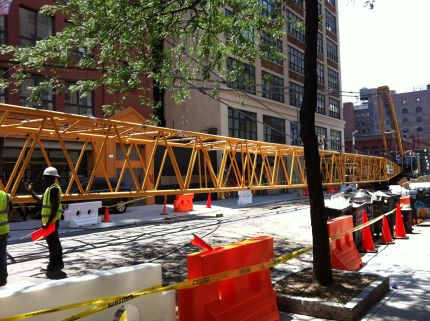 409 foot long crane installed on Vandam Street (June 22, 2014)