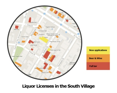 liquor licenses in the south village, a map with legend