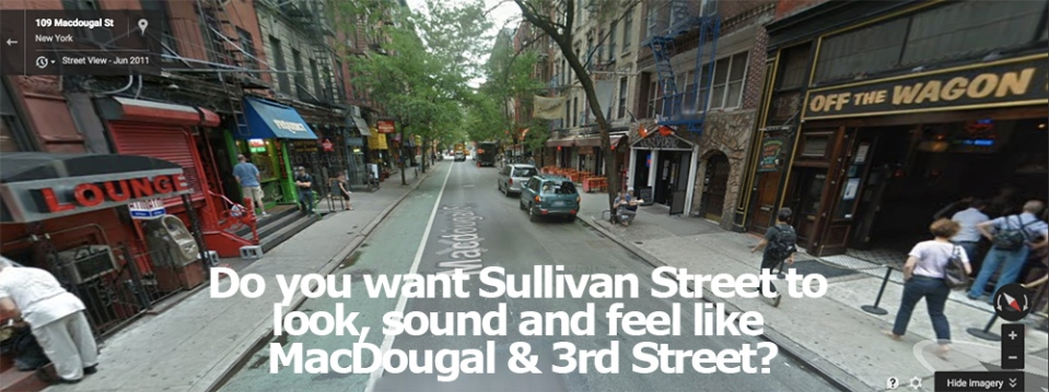street scene at MacDougal & 3rd Street showing many bars and lounges